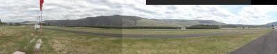 Lake Chelan airport taxi and runway panoramic